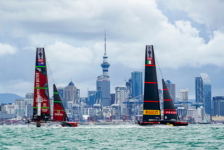 """America's Cup Race Day 7 in March between Emirates Team New Zealand and the Luna Rossa Prada Pirelli Team with Auckland's Sky Tower in the background. Minister Simon Coveney has said that a successful bid to host the America's Cup yacht race would establish Ireland as a """"leader of the blue economy within the EU"""