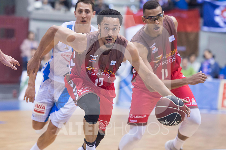 San Pablo Burgos John Jenkins and Sebas Saiz and Gipuzkoa Basket Fede Van Lacke during Liga Endesa match between San Pablo Burgos and Gipuzkoa Basket at Coliseum Burgos in Burgos, Spain. December 30, 2017. (ALTERPHOTOS/Borja B.Hojas)