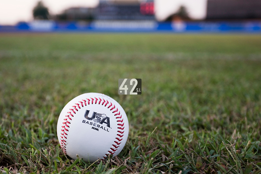 25 September 2009: A ball marked with Team USA logo is seen on the field prior to the 2009 Baseball World Cup final round match won 8-2 by Team USA over Netherlands, in Nettuno, Italy.