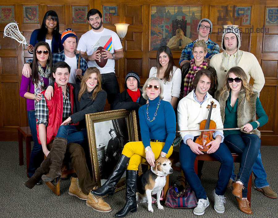 February 11, 2012;  Group photo in Morriessey Hall for the Notre Dame fashion issue. Photo by Barbara Johnston/University of Notre Dame
