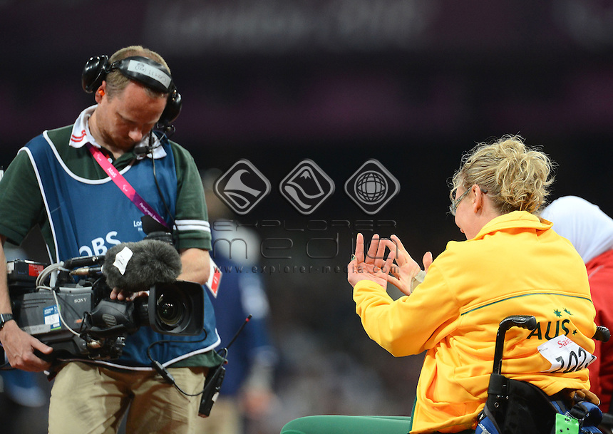 Louise Ellery AUS wins silver in the Women's Shot Put - F32<br /> Athletics (Thursday 6th Sept) - Olympic Stadium<br /> Paralympics - Summer / London 2012 <br /> London, England 29 Aug - 9 Sept<br /> © Sport the library/Courtney Crow