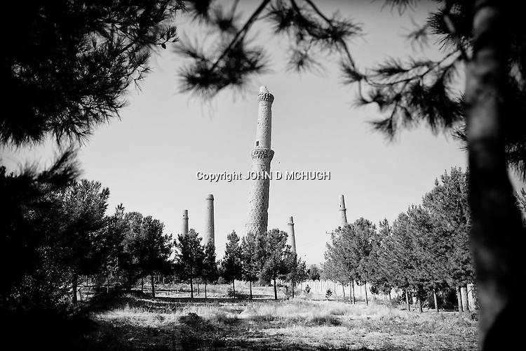 A general view of the five remaining 15th century minarets of the Musalla Complex in Herat, 22 September 2013. (John D McHugh)