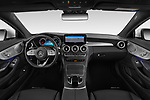 Stock photo of straight dashboard view of a 2019 Mercedes Benz C Class base 2 Door Coupe