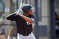 New York Yankees Leonardo Molina (38) at bat during a minor league Spring Training game against the Detroit Tigers on March 22, 2017 at the Yankees Complex in Tampa, Florida.  (Mike Janes/Four Seam Images)