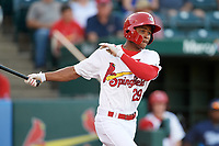 Springfield Cardinals left fielder Magneuris Sierra (29) fouls off a pitch during a game against the Corpus Christi Hooks on May 30, 2017 at Hammons Field in Springfield, Missouri.  Springfield defeated Corpus Christi 4-3.  (Mike Janes/Four Seam Images)