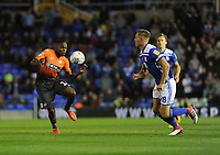 Swansea City's Joel Asoro vies for possession with Birmingham City's Michael Morrison during the Sky Bet Championship match between Birmingham City and Swansea City at St Andrew's Trillion Trophy Stadium on August 17, 2018 in Birmingham, England.