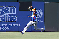 James Baldwin #9 of the Rancho Cucamonga Quakes during a game against the Inland Empire 66ers at San Manuel Stadium on August 10, 2014 in San Bernardino, California. Inland Empire defeated Rancho Cucamonga, 4-1. (Larry Goren/Four Seam Images)