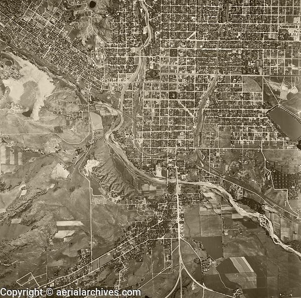 historical aerial photo map of Colorado Springs, El Paso County, Colorado, 1947