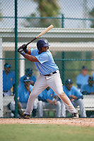 Tampa Bay Rays first baseman Devin Davis (52) at bat during an Instructional League game against the Pittsburgh Pirates on October 3, 2017 at Pirate City in Bradenton, Florida.  (Mike Janes/Four Seam Images)
