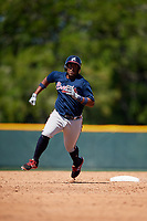 Atlanta Braves Nicholas Vizcaino (91) during a minor league Spring Training game against the Pittsburgh Pirates on March 13, 2018 at Pirate City in Bradenton, Florida.  (Mike Janes/Four Seam Images)