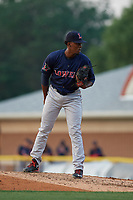 Lowell Spinners pitcher Miguel Suero (60) during a NY-Penn League game against the Batavia Muckdogs on July 10, 2019 at Dwyer Stadium in Batavia, New York.  Batavia defeated Lowell 8-6.  (Mike Janes/Four Seam Images)