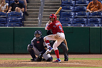 Clearwater Threshers Yhoswar Garcia (9) during a game against the Tampa Tarpons on June 10, 2021 at BayCare Ballpark in Clearwater, Florida.  Carlos Narvaez (5) catching.  (Mike Janes/Four Seam Images)