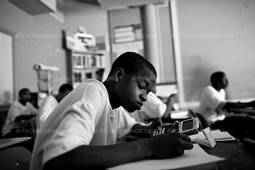 Chicago, Illinois<br /> USA <br /> September 2008<br /> <br /> <br /> Students at Robeson High live in one of Chicago's most  dangerous neighborhoods, Englewood is also one of the poorest neighborhoods in the city with a median income of $18,955 and a demographic of 97.8%  African Americans.  Roberson student face many challenges  as they enter school they have to walk through metal detectors witnesse fights and sometimes not have a clear idea of what they're doing on a day-to-day basis. In Chicago Public Schools, only around half the freshmen who enter high school will earn their diploma.  On August 18, 2010.  A 50-state report from the Schott Foundation for Public Education has come to a dispiriting conclusion: public education is failing black male students. Nationwide, the graduation rate for this demographic of students is a paltry 47 percent. And in some major cities, it's perilously low--in New York City and Philadelphia, for example, only 28 percent of black males complete high school on time.