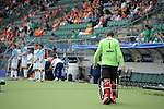 The Hague, Netherlands, June 15: George Pinner #1 of England leaves the pitch for another field player during the field hockey bronze match (Men) between Argentina and England on June 15, 2014 during the World Cup 2014 at Kyocera Stadium in The Hague, Netherlands. Final score 2-0 (0-0)  (Photo by Dirk Markgraf / www.265-images.com) *** Local caption ***