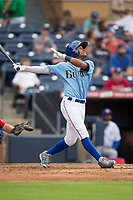 Mallex Smith (6) of the Durham Bulls follows through on his swing against the Buffalo Bisons at Durham Bulls Athletic Park on April 30, 2017 in Durham, North Carolina.  The Bisons defeated the Bulls 6-1.  (Brian Westerholt/Four Seam Images)