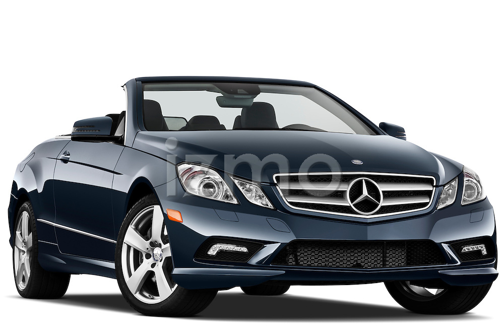 Low aggressive passenger side front three quarter view of a 2011 Mercedes E 550 Convertible.
