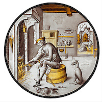"""Sorgheloos (""""Carefree"""") in Poverty. 1510–20. Colorless glass, vitreous paint and silver stain. The Metropolitan Museum of Art, New York"""