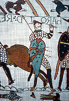 Visual Arts:  Bayeaux Tapestry #8.  Harold supposedly plucking an arrow from his eye.  That he was killed by an arrow in the eye is one of the most widely believed stories in English History.  Reference:  THE BAYEAUX TAPESTRY, Norman Denny and Josephine Filmer-Sankey, 1966.