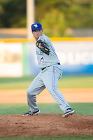 Bluefield Blue Jays relief pitcher Chris Hall (26) in action against the Burlington Royals at Burlington Athletic Stadium on June 26, 2016 in Burlington, North Carolina.  The Blue Jays defeated the Royals 4-3.  (Brian Westerholt/Four Seam Images)