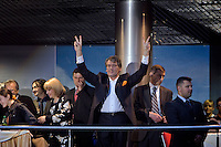 Kiev, Ukraine, 17/05/2005..The fiftieth Eurovision Song Contest..Ukrainian President Viktor Yuschenko waves a victory sign to the crowds at a charity concert in the Eurozone Club which featured 2004 winner Ruslana, Ukrainian entrants Green Jolly and others...