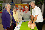 Patsy Linnane, Agnes Hart, Lily McLooughlin and Mary Kennedy learn about CPR from Eugene Brannigan of  the Boyne Fishermen's Rescue and Recovery Service. www.newsfile.ie