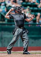19 July 2018: Minor League Umpire Evin Johnson works home plate during a game between the Staten Island Yankees and the Vermont Lake Monsters at Centennial Field in Burlington, Vermont. The Lake Monsters edged out the Yankees 2-1 in NY Penn League action. Mandatory Credit: Ed Wolfstein Photo *** RAW (NEF) Image File Available ***