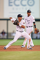 Lakeland Flying Tigers shortstop Anthony Pereira (9) throws to first base in front of second baseman Isaac Paredes (3) during the second game of a doubleheader against the Bradenton Marauders on April 11, 2018 at Publix Field at Joker Marchant Stadium in Lakeland, Florida.  Bradenton defeated Lakeland 1-0.  (Mike Janes/Four Seam Images)