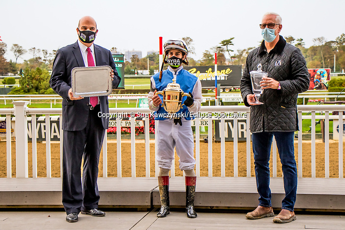 """OCT10, 2020 : Happy Saver with Irad Ortiz aboard, wins the """"Win & You're In""""   Grade 1 Jockey Club Gold Cup Stakes, going 1 1/14s, at Belmont Park, Elmont, NY.  Sue Kawczynski/Eclipse Sportswire/CSM"""
