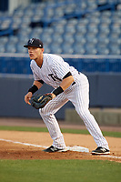 Tampa Yankees first baseman Matt Snyder (29) during a game against the Fort Myers Miracle on April 12, 2017 at George M. Steinbrenner Field in Tampa, Florida.  Tampa defeated Fort Myers 3-2.  (Mike Janes/Four Seam Images)