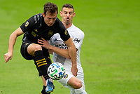 LOS ANGELES, CA - OCTOBER 25: Danny Musovski #16 of LAFC traps the ball during a game between Los Angeles Galaxy and Los Angeles FC at Banc of California Stadium on October 25, 2020 in Los Angeles, California.