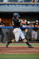 Bristol Pirates designated hitter Conner Uselton (25) follows through on a swing during a game against the Bluefield Blue Jays on July 26, 2018 at Bowen Field in Bluefield, Virginia.  Bristol defeated Bluefield 7-6.  (Mike Janes/Four Seam Images)