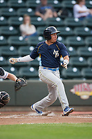 Bryant Flete (3) of the Myrtle Beach Pelicans follows through on his swing against the Winston-Salem Dash at BB&T Ballpark on May 11, 2017 in Winston-Salem, North Carolina.  The Pelicans defeated the Dash 9-7.  (Brian Westerholt/Four Seam Images)