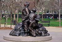 Vietnam Veterans War Memorial, women's memorial with statue of nurses and soldiers #5410. Washington DC.