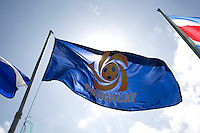 The CONCACAF flag flies over the stadium during the group stage of the CONCACAF Men's Under 17 Championship at Jarrett Park in Montego Bay, Jamaica. Costa Rica defeated El Salvador, 3-2.