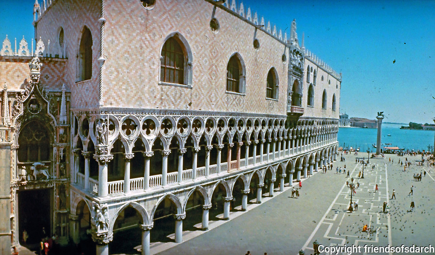 The Doge's Palace. a palace built in Venetian Gothic style, and one of the main landmarks of the city of Venice.