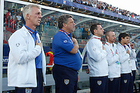 USA head coach Thomas Rongen and his staff during the playing of the US national anthem. The United States (USA) defeated Uruguay (URU) 2-1 in overtime during a FIFA U-20 World Cup round of 16 match at the National Soccer Stadium at Exhibition Place, Toronto, Ontario, Canada, on July 11, 2007.