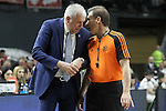 Fenerbahce Ulker Istambul's coach Zeljko Obradovic have words with the referee Christos Christodoulou during Euroleague Semifinal match. May 15,2015. (ALTERPHOTOS/Acero)
