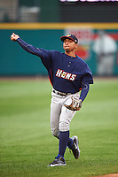 Toledo Mudhens shortstop Dixon Machado (28) warms up before a game against the Rochester Red Wings on May 12, 2015 at Frontier Field in Rochester, New York.  Toledo defeated Rochester 8-0.  (Mike Janes/Four Seam Images)