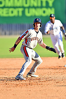 Aberdeen IronBirds Kyle Stowers (37) leads off second base during a game against the Asheville Tourists on June 15, 2021 at McCormick Field in Asheville, NC. (Tony Farlow/Four Seam Images)