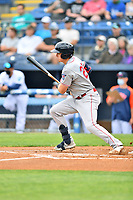 Greenville Drive Tyler Esplin (25) swings at a pitch during a game against the Asheville Tourists on May 18, 2021 at McCormick Field in Asheville, NC. (Tony Farlow/Four Seam Images)