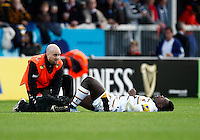 Photo: Richard Lane/Richard Lane Photography. Exeter Chiefs v Wasps. Aviva Premiership. 22/11/2014.  Wasps' Christian Wade receives treatment for an injury.