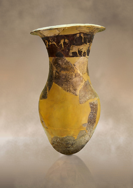 Hüseyindede vases, Old Hittite Po;ychrome Relief vessel, partially finished, 16th century BC. Çorum Archaeological Museum, Corum, Turkey. Against a warm art bacground.