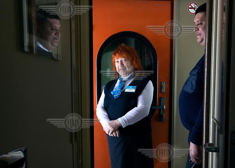 Irina Kukushkina, a conductor on a train running on the Obskaya-Bovanenkovo railway, where she has been employed for several years.
