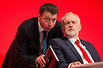 © Joel Goodman - 07973 332324 . 25/09/2016 . Liverpool , UK . IAIN MCNICOL and JEREMY CORBYN at the ACC in Liverpool , during the first day of the Labour Party Conference . Photo credit : Joel Goodman