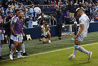 KANSAS CITY, KS - MAY 29: Johnny Russell #7 and Alan Pulido #9 of Sporting KC celebrate Pulido's goal during a game between Houston Dynamo and Sporting Kansas City at Children's Mercy Park on May 29, 2021 in Kansas City, Kansas.