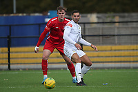 Lee Newton of Romford and Harry Gibbs of Aveley during Romford vs Aveley, Pitching In Ishmian League North Division Football at Mayesbrook Park on 26th September 2020