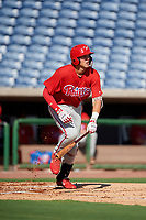 Philadelphia Phillies Alec Bohm (18) follows through on a swing during a Florida Instructional League game against the New York Yankees on October 12, 2018 at Spectrum Field in Clearwater, Florida.  (Mike Janes/Four Seam Images)