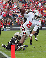 Ohio State quarterback Terrelle Pryor gets tackled just short of the goal line by Dwight McLean (4). The Purdue Boilermakers defeated the Ohio State Buckeyes 26-18 at Ross-Ade Stadium, West Lafayette, Indiana on October 17, 2009..