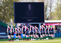 17th April 2021; Twickenham Stoop, London, England; English Premiership Rugby, Harlequins versus Worcester Warriors; A minutes silence before the start of game to honour the life of the Duke of Edinburgh
