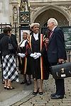 Judge Indira Demeritte-Francis, who sits at the Court of Appeal of the Commonwealth of the Bahamas with the Registrar.  Lord Chancellors Breakfast takes place annually in October the start of the Legal Year is marked by a procession know as the Judges Walk. From Westminster Abbey to the  Houses of Parliament, London England 2006.